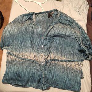 Blue silky tunic